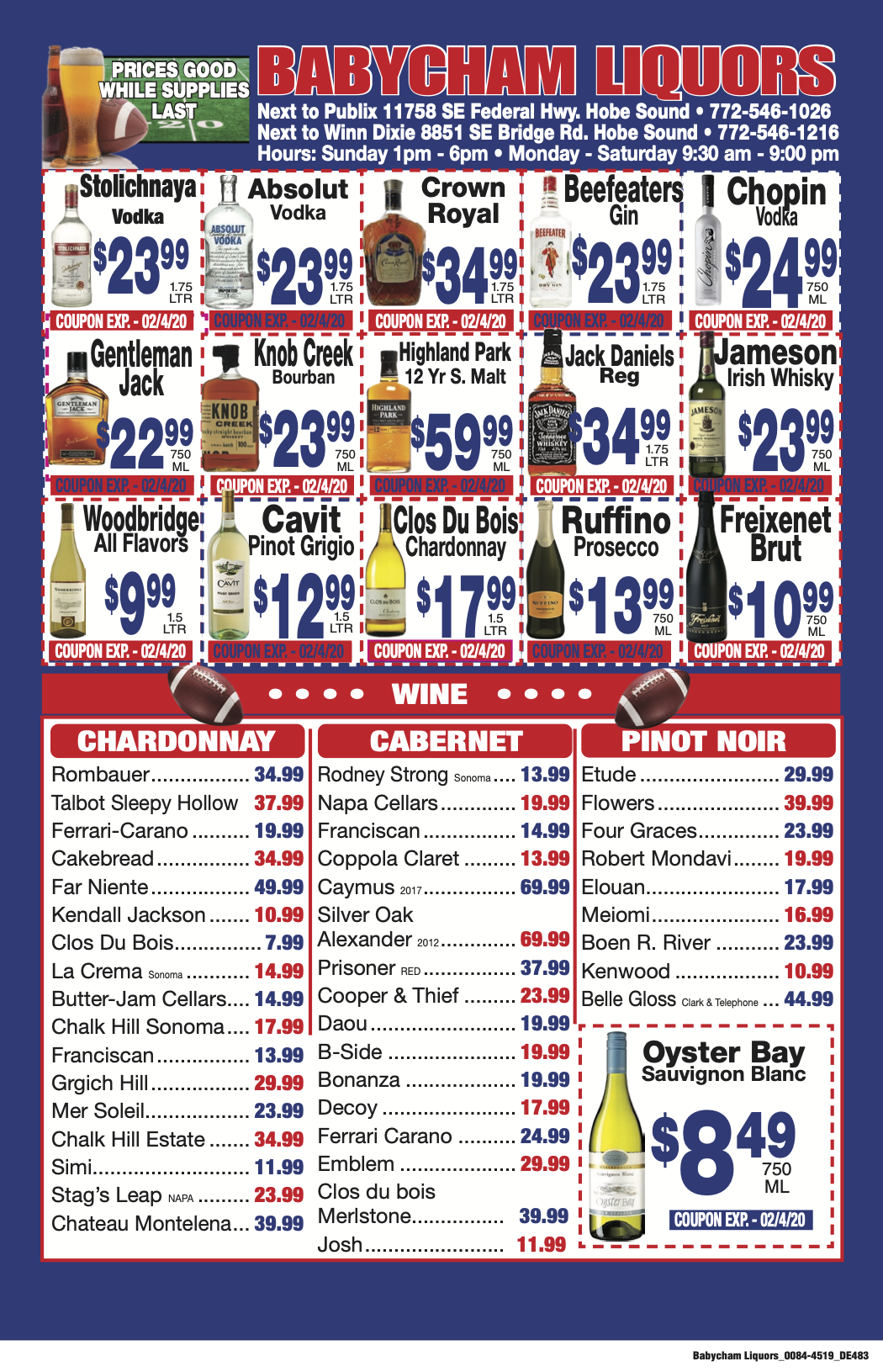 Super Bowl 2020-IN STORE SPECIAL WINE & LIQUOR WEEKLY SALE - ENDS FEBRUARY 2,2020