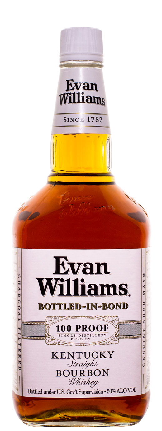 Evan Williams White Label Bottled in Bond Kentucky Straight Bourbon Whiskey,1.75